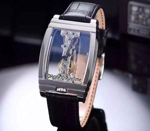 Yeni Altın Köprü 113.550.70 / 0001 0000R Çelik Kasa İskelet Dial Mekanik El Sarma Mens Watch Cam Geri Siyah Deri Kayış Co41a1