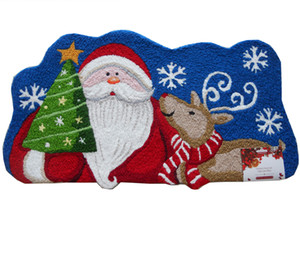 2018 Cute Cartoon Santa Claus Elk Hand Hooked Merry Christmas Gift Pattern Durable Door Mats Rugs Waterproof Living Room Carpet Home Decor