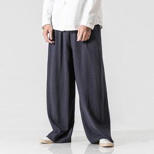 Pantalones anchos masculinos de la pierna Hombres pantalones elásticos de la cintura elástica Pantalones sueltos pantalones de lino de algodón sólido flojos