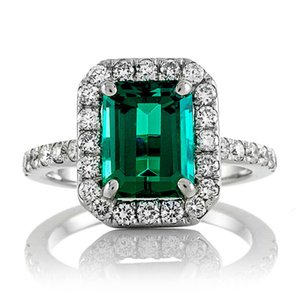 14k White Gold 2.7ct Carat Emerald Cut Engagement Wedding Halo Ring for Women Green Moissanite Diamond Ring Set Test Positive S923