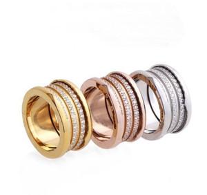 Moda di alta qualità 316L acciaio al titanio tre file Diamante filetto a vite Fidanzamento nuziale 18 K Anelli larghi placcati oro Taglia 6-9