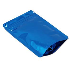Kendinden yalıtılmış Folyo Mylar Gıda Saklama Fermuar ile Kılıfı Ambalaj Paketi Bags Ambalaj 14x20cm Mavi Doypack Alüminyum Folyo Fermuar Açılıp kapanabilir Gıda