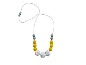 Silicone Geométrica Colar de Dentição de Enfermagem Jóias de Grau Alimentício Silicone Hexagon Mable Beads para o Bebê a Mastigar Mãe Desgaste Mastigar Colar Frisado