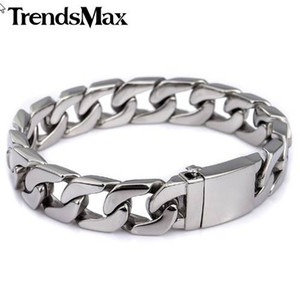 Trendsmax 13mm 316L brazalete de acero inoxidable para hombre pulsera bordillo color plata HB83