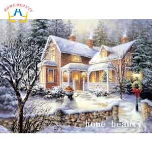 Foto di casa di neve piena di diamanti strass diamante rotondo punto croce mosaico mosaico ago arti per la cucina WRA135