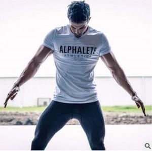 Erkekler Spor Koşu Baskılı Harf Açık Jimnastik Eğitimi Koşu Spor Giyim ile Tshirts Hızlı Kuru Kısa Kollu Spor Tişörtlü