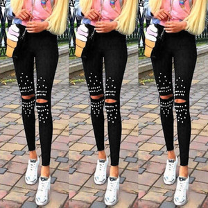 2018 explosion models women's pants Europe and the United States spring and autumn tight knee hole pearl stretch leggings
