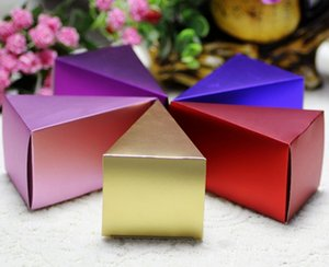 100 PCS new criativo folha triângulo bolo presente caixa de festas de aniversário, casamento e caixa de presente de noivado