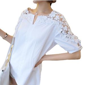 VogorSean 2018 Mulher blusa camisa de algodão Mulheres Verão Tops Casual Sólidos Feminino Vestuário White Shirts Sexy Blusas Novos