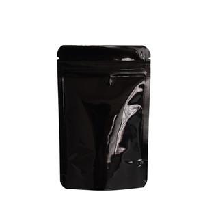 8.5 * 13 cm Siyah Stand Up Alüminyum Folyo Paket Çanta 100 adet / grup Doypack Zip Kilit Gıda Fasulye Kahve Ambalaj Mylar Kılıfı Su Geçirmez Fermuar Çanta