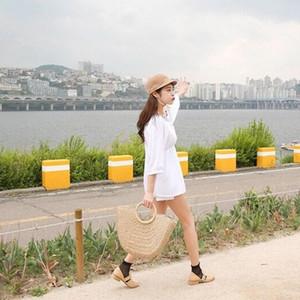 Kadınlar 2018 Yeni İçin Yarım Yuvarlak Straw Çanta Kadın Rattan Dokuma İpli Tote Şık Örme Hasır Çanta