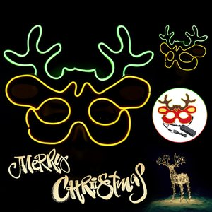 3 Modes EL Wire + Cotton Glow Mask EL Wire LED Light Up Cosplay Christmas Reindeer Eye Masks role-playing Halloween Party