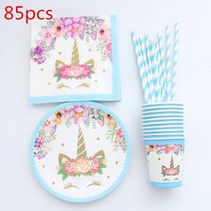 85 adet Unicorn Tek Kullanımlık Sofra Noel Yeni Yıl Partisi Kağıt Tabaklar Bardaklar Peçeteler Doğum Günü Partisi Malzemeleri Plastik Payet