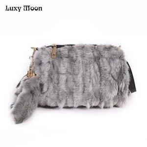 Luxy Moon искусственный мех Женщины сумки лоскут кисточкой плюшевые кошелек зима портативный мех Сумка женская мода креста тела сумка ZD796