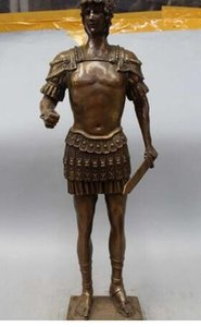 "24 ""Western Art Bronze Statue Famoso guerrero romano espada Estatua Escultura"