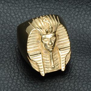 Hip hop ouro cor misteriosa faraó egípcio anéis rocha titanium aço inoxidável mens signet bling anel para homens jóias