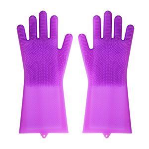 Горячие силиконовые чистящие перчатки с кисточками Волшебная моющая перчатка для посуды Приготовление ванны Уход за домашними животными Перчатки для чистки против обжига