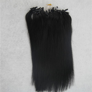 Jet black Straight Micro Loop Ring Hair Extension 100G Remy Micro Bead Hair Extensions 1g strand Micro Link Human Hair Extensions