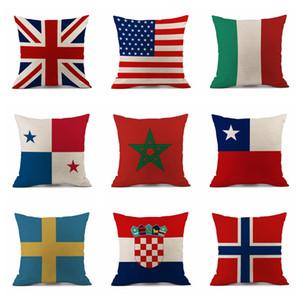 Funda de almohada 45 * 45 cm Copa Mundial de Rusia 2018 Decoración para el hogar Bandera Nacional Tiro Funda de cojín Fundas de almohada de fútbol Cojines de asiento OOA5003