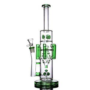 Heady Glass Green Pipe À Eau Big Bong Artist 8 Bras Unique Perc Recycler Droit Tube 15 Pouces Et 18mm Joint