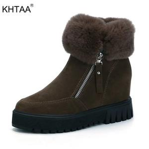 KHTAA Mode Faux Suede Zipper Femmes Cheville Bottes Plate-Forme Augmentant La Hauteur Bottes De Neige Chaud En Peluche Femelle Moelleux D'hiver Chaussures