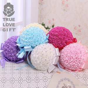 Yapay Holding Çiçek Şerit Rhinestone Köpük Gül Çiçekler Düğün Süslemeleri Ile Toksik Olmayan Gelin Buketi Romantik Tarzı 21jz ZZ