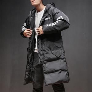 Giacca da uomo con stampa di moda Giacca invernale da uomo con cerniera parka con cerniera sciolta con cappotto caldo lungo con cappuccio per uomo