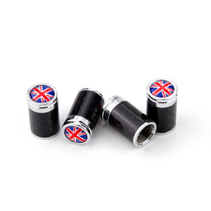 4pcs set National Flag UK America Germany France Flag Logo Real Carbon Fiber Car Wheel Tyre Tire Valve Caps For All Car Auto Truck