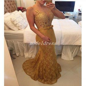 Illusion Bodice Gold Mermaid Abiti da sera 2018 Sheer Neck Lace Appliques Beads Formal Prom Party Gowns Occasioni speciali Vestito Arabo