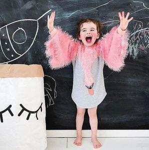 Ins طفل الفتيات الكرتون سوان الأميرة اللباس الاطفال طويلة الأكمام الشرابة قمم الأطفال عارضة فساتين 13833
