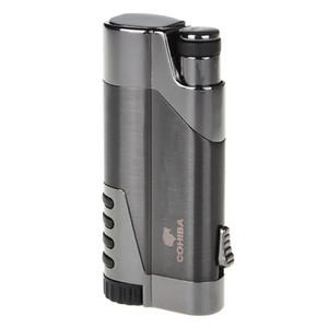 Новое прибытие COHIBA металлические зажигалки для сигар прямо надуть пневматические зажигалки творческий ветрозащитный Факел Электронная зажигалка