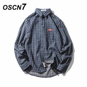 OSCN7 Blau Casual Kariertes Hemd Männer 2018 Frühling New Grau Fashion Streetwear Männer Hemd Camisa Masculina Baumwolle Flanell Kleid