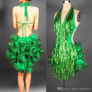 New Adult Latin Dance Dress Salsa Tang Cha cha Ballroom Competition Paillettes Group Dance Dress 2 colori S-XXL