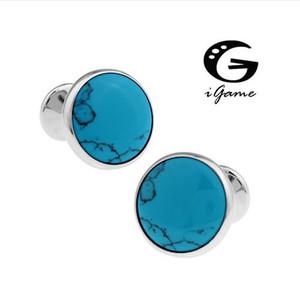 iGame Factory Price Retail 남성용 커프스 단추 구리 소재 블루 스톤 디자인 커프스 링크 무료 배송
