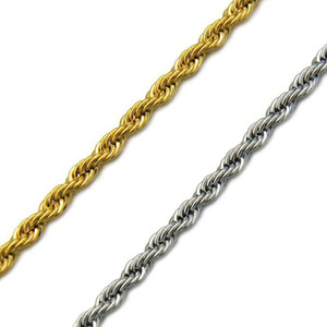(TN-0005) 50 60 70 cm Length 316L Titanium steel Long Rope ( 3 mm width ) Necklaces for Men No Fade Gold   White