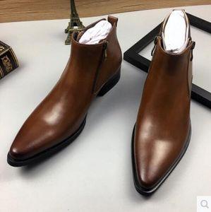 Deri Yüksek Üst Erkekler Için Elbise Kış Çizmeler Iş Patik Adam Sivri Burun Erkek Siyah Sarı Düğün Oxfords Ayakkabı Taktik Çizmeler