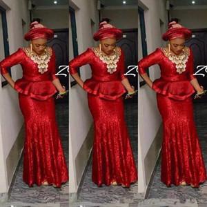 Red nigeriano Prom Dresses paillettes Aso Ebi maniche lunghe abiti di sera Evento abbigliamento formale del partito Gowns vestidos de dama d'onore