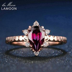 LAMOON 5x7mm 1ct 100% Natural Teardrop Red Garnet Ring 925 Sterling Silver Jewelry Rose Gold Romantic Wedding Band LMRI024 Y18102510