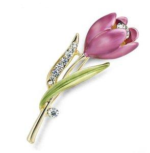 Elegante Tulip Blume Brosche Kristall Kostüm Schmuck Kleidung Zubehör Schmuck Broschen für Hochzeit Kostenloser Versand