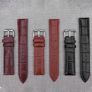 Fabrika toptan Unisex moda şantuk kabartmalı Watch Band Kayışı Itme İğne Toka Deri 3 renkler siyah Kahverengi Tan Çelik toka 12mm ~ 24mm