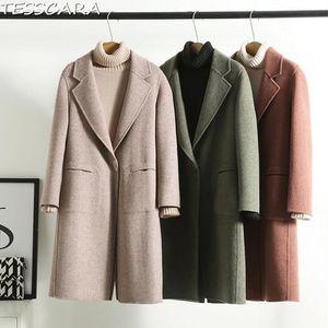 TESSCARA Women Autumn & Winter Long Cashmere Jacket Coat Female Wool Blend Trench Overcoat Camel Hair Jackets Outerwear & Coats
