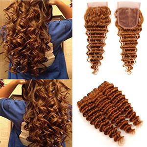Nouvelle arrivée # 30 brun foncé vague profonde de cheveux humains Weave avec 4x4 Fermeture moyenne Auburn profonde Curly Virgin Bundles cheveux avec lacets de fermeture