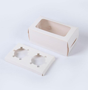 DHL kraft Card Paper Cupcake Box 2 Cup Cake Holders Muffin Cake Boxes Dessert Portable Package Box Tray Gift Favor ny 16*9*7.5cm