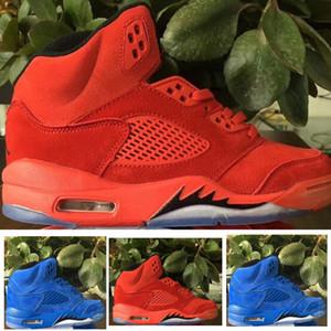 5S طيران الشرق البدلة أحذية الأطفال الأطفال كرة السلة 5 أزرق أحمر الجلد المدبوغ الرياضة حذاء رياضة 1.5Y 2.5Y 3Y صبي وفتاة Toldder المدرب