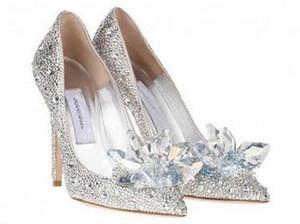Top Grade Cinderela Sapatos De Cristal De Noiva Sapatos De Casamento De Strass Com Flor de Couro Genuíno Grande Pequeno Size35 A 40