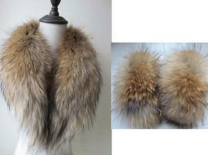 Brand new women's real A set of best Raccoon fur collar sleeves cuffs brown