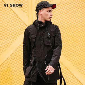 VIISHOW New Long Trench Coat Mens Roupas de Marca Casuais Moda Casacos Longos Casaco Homens Top Quality Com Capuz Trench Masculino FC1036181
