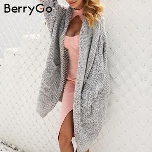 BerryGo Long cardigan feminino casual solto plus size cardigan 2018 de malha camisola das mulheres senhoras outono inverno camisola casaco jumper S118