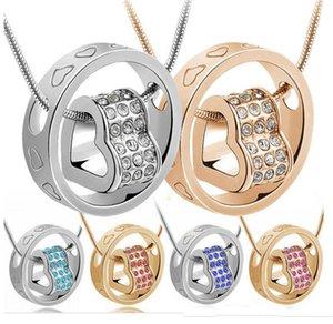 Atemberaubende österreichische Kristall Diamanten Anhänger Glück Liebe Anhänger Halskette Fashion Classic Women Elements Kristall Schmuck