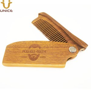 100pcs lot Your LOGO Customized Folding Combs Green Sandalwood Wooden Hair Comb Beard Comb for Men Foldable Comb Engrave LOGO